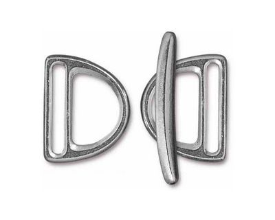 TierraCast Antique Pewter (plated) 20mm Slotted D Ring Clasp Set 19x24mm, 34mm bar