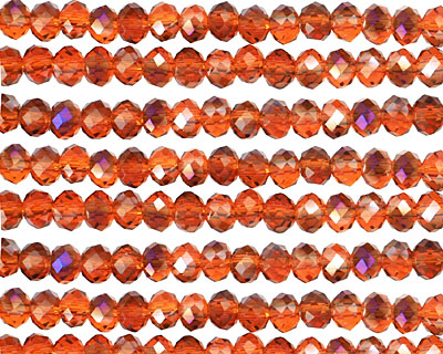 Amber & Purple AB Crystal Faceted Rondelle 4mm