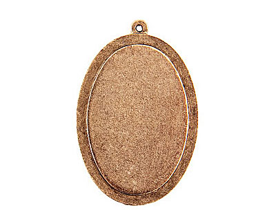 Nunn Design Antique Gold (plated) Raised Tag Grande Oval Pendant 32x47mm