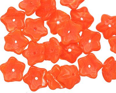 Czech Glass Tangerine Tango Quartz 5 Petal Flower 4x10mm