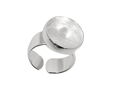 Silver (plated) Adjustable Ring Circle Bezel 17mm