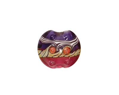 Grace Lampwork Pink & Purple Lentil 14x14mm