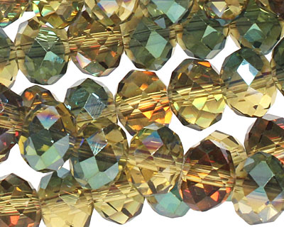 Iris Chartreuse Crystal Faceted Rondelle 8mm