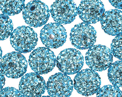 Aquamarine Pave (w/ Preciosa Crystals) Round 10mm