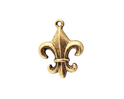 Nunn Design Antique Gold (plated) Fleur Charm 17x23mm