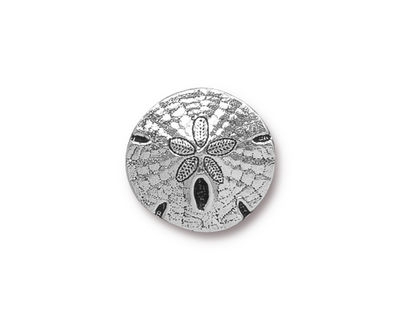 TierraCast Antique Silver (plated) Sand Dollar Button 16mm