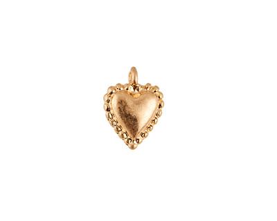 Matte Gold Finish Puff Heart Charm 10x13mm