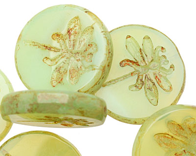 Czech Glass Green Tea Dragonfly Coin 23mm