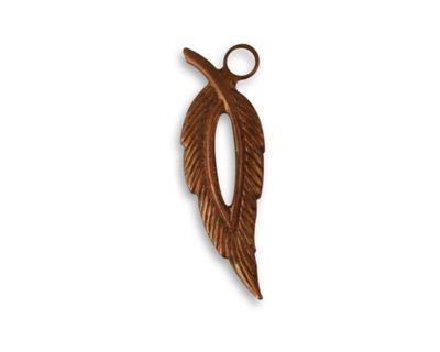 Vintaj Artisan Copper Open Leaf Pendant 9x28mm