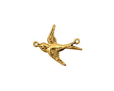 Stampt Antique Gold (plated) Westward Bird Connector 18x12mm