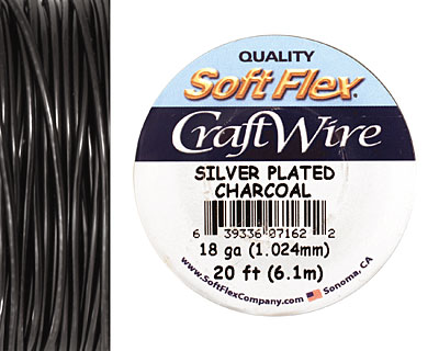 Soft Flex Silver Plated Charcoal Craft Wire 18 gauge, 20 ft