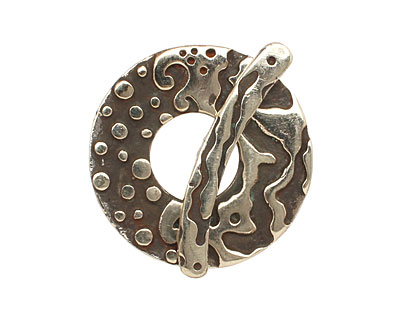 Saki White Bronze Ocean Splash Toggle Clasp 33mm, 38mm bar