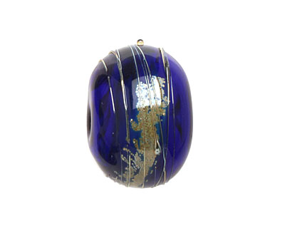 A Beaded Gift Cobalt Luxe Glass Rondelle (hollow) 13-15x19-23mm