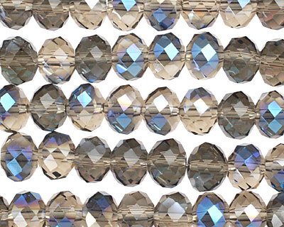 Smoky & Blue AB Crystal Faceted Rondelle 8mm