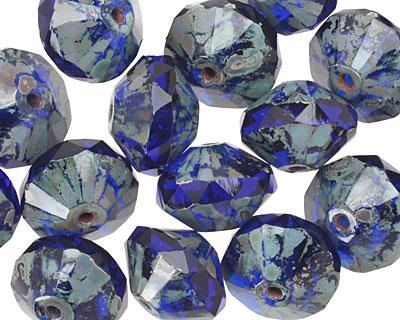 Czech Glass Cobalt Picasso Saucer 9x13mm