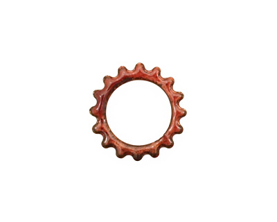 C-Koop Enameled Metal Ruby Red Small Open Gear 16mm