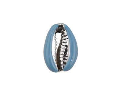 Turquoise Enamel on Silver Finish Cowrie Shell 14-17x19-25mm