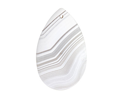 Gray & White Banded Agate (matte) Teardrop 31-34x49-57mm