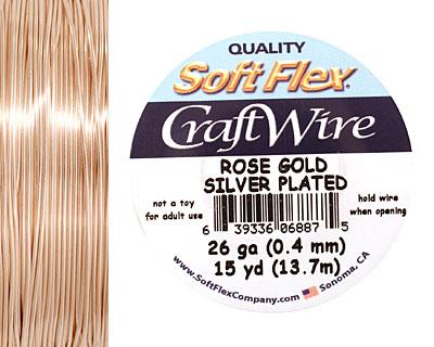 Soft Flex Silver Plated Rose Gold Craft Wire 26 gauge, 15 yards
