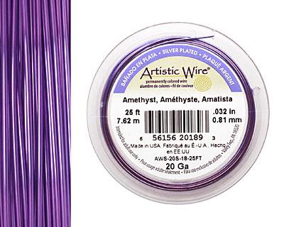 Artistic Wire Silver Plated Amethyst 20 gauge, 25 feet