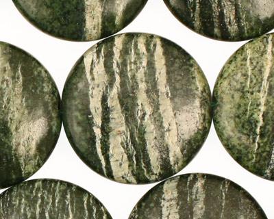 Green Zebra Jasper Puff Coin 25mm