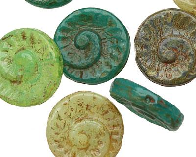 Czech Glass Aloe Ammonite Coin 17mm
