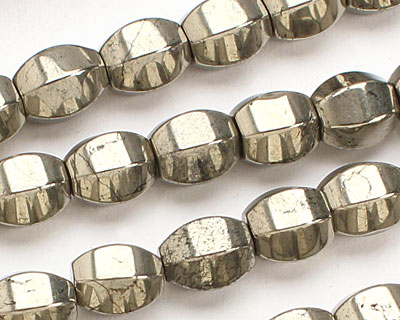 Golden Pyrite (silver tone) 6 Sided Rice 9-10x8mm