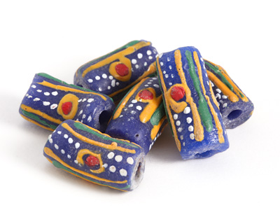 African Hand-Painted in Red/Green/Saffron/White Circles & Stripes on Cobalt Powder Glass (Krobo) Bead 19-26x10-11mm