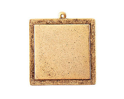 Nunn Design Antique Gold (plated) Raised Tag Grande Square Pendant 38x42mm