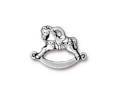 TierraCast Antique Silver (plated) Rocking Horse Charm 22x16mm