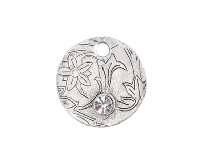 Nunn Design Antique Silver (plated) Decorative Small Circle Tag w/ Crystal 20mm