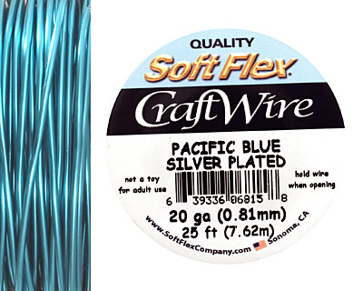 Soft Flex Silver Plated Pacific Blue Craft Wire 20 gauge, 25 ft