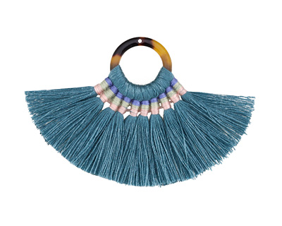 Peacock Fanned Tassel on Tortoise Shell Acetate Ring 70x45mm