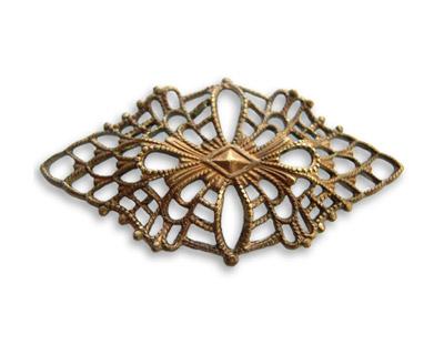 Vintaj Natural Brass Deco Diamond Filigree 50x28mm
