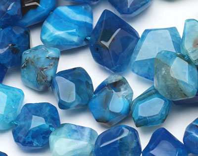 Sky Blue Line Agate Faceted Nugget 9-13x15-19mm