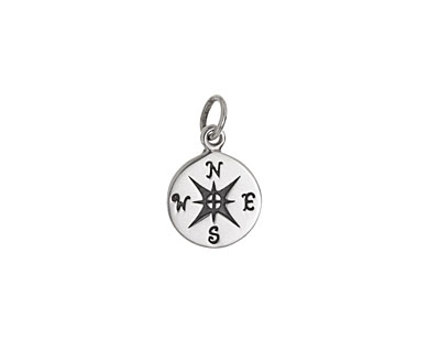 Nina Designs Sterling Silver Small Compass Charm 10x15mm