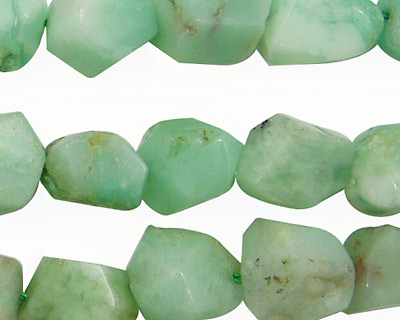 Chrysoprase Faceted Nugget 12-16x10-12mm