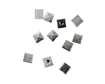 Memory Wire Silver (plated) Cube Endcap 4mm