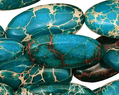Teal Impression Jasper Flat Oval 30x15mm