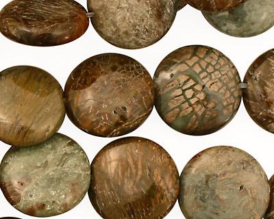 Green Snakeskin Puff Coin 15mm