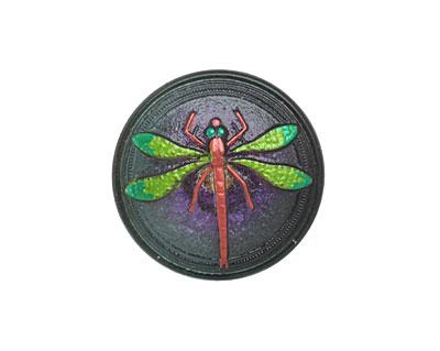 Czech Glass Green & Fuchsia Dragonfly Button 30mm