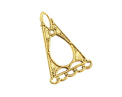 Stampt Antique Gold (plated) Triangular Framed Chandelier Drop 18x28mm