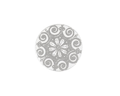Lillypilly Silver Scrolling Daisy Anodized Aluminum Disc 19mm, 22 gauge