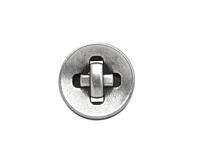 Antique Silver (plated) Button 10mm Cord Slide 18mm