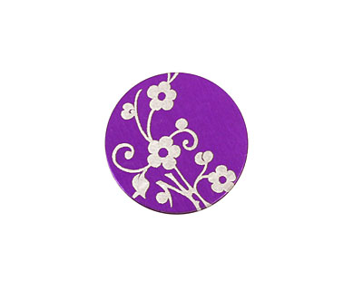 Lillypilly Purple Floral Vine Anodized Aluminum Disc 19mm, 24 gauge