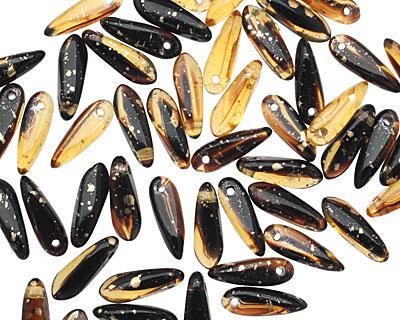 Czech Glass Amber w/ Gold Marble Dagger 3x11mm