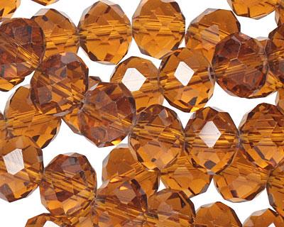 Dark Topaz Crystal Faceted Rondelle 14mm
