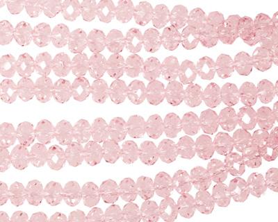 Light Rose Crystal Faceted Rondelle 4mm