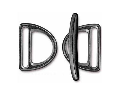 TierraCast Gunmetal 20mm Slotted D Ring Clasp Set 19x24mm, 34mm bar