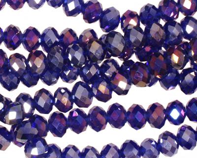 Cobalt AB Crystal Faceted Rondelle 6mm